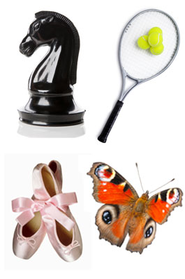 An image showing the main interests of the Foundation, Ballet, Tennis, Chess and Gardening